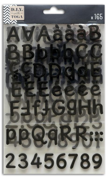 3 hojas pegatinas alfabeto espuma negra