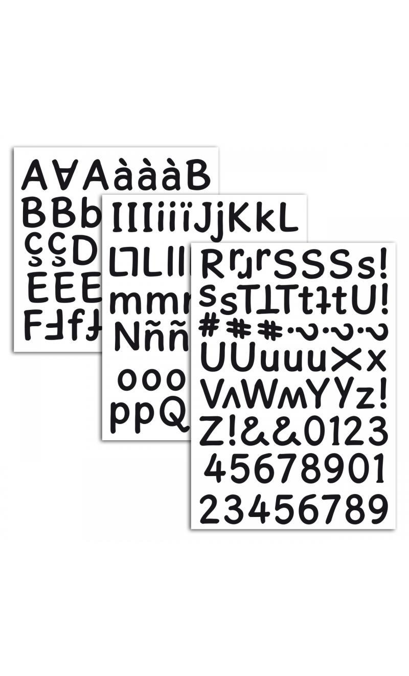 3 hojas pegatinas alfabeto espuma negra - BASICCREA