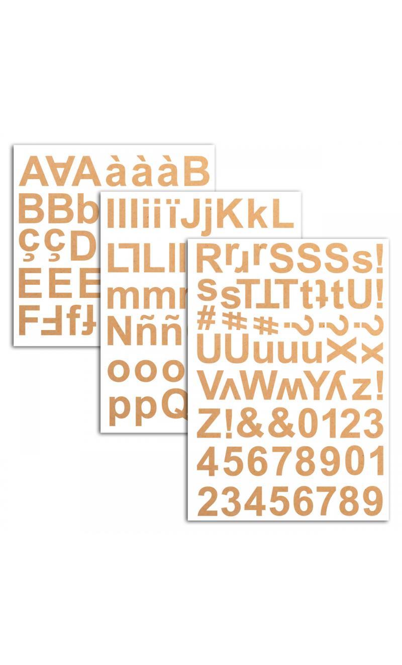 3 hojas pegatinas alfabeto chipboard kraft - BASICCREA