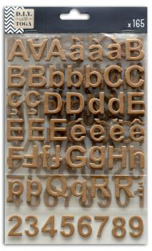 3 hojas pegatinas alfabeto chipboard kraft
