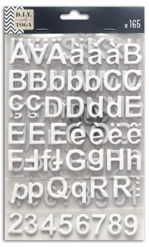 3 hojas pegatinas alfabeto chipboard blanco