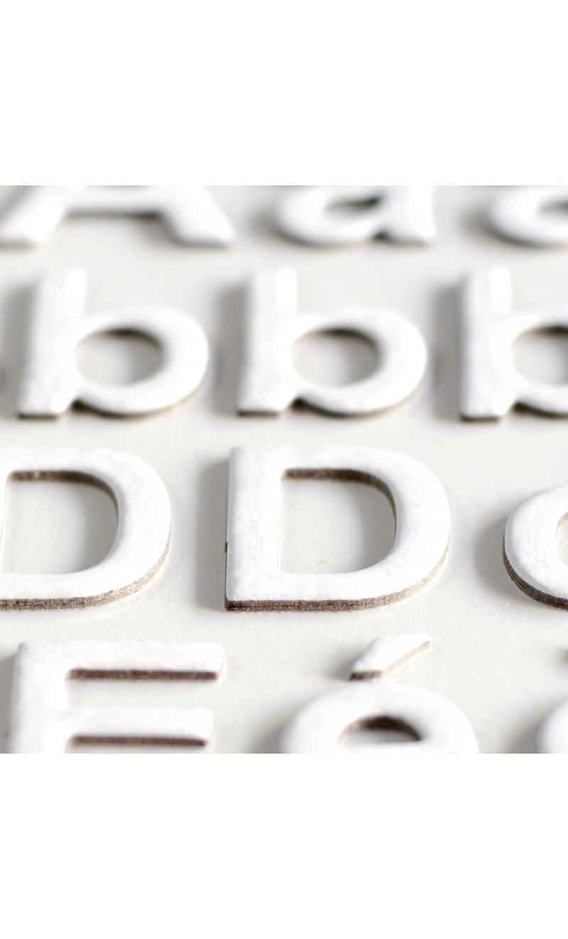 3 hojas pegatinas alfabeto chipboard blanco - BASICCREA