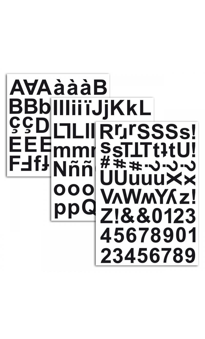3 hojas pegatinas alfabeto chipboard negro - BASICCREA