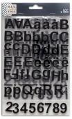 3 hojas pegatinas alfabeto chipboard negro
