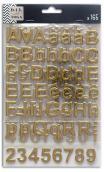 3 hojas pegatinas alfabeto chipboard oro