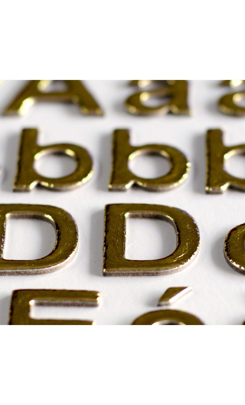3 hojas pegatinas alfabeto chipboard oro - BASICCREA