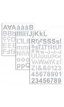 3 hojas pegatinas alfabeto chipboard plata