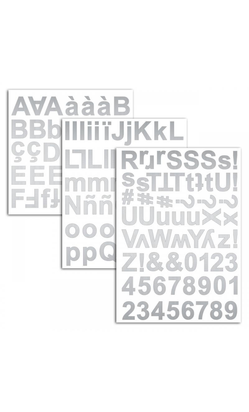 3 hojas pegatinas alfabeto chipboard plata - BASICCREA