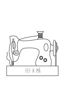 "Sello de caucho con empuñadura de madera Maquina coser ""fet a mà"""