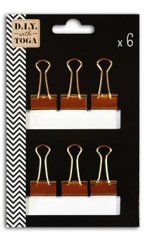 6 pinzas medianas clips doradas