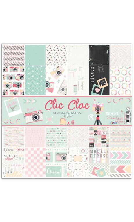 Conjunto 6 papeles r/v 30x30 clic clac