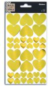 36 Stickers or- pequeños y grandes corazones