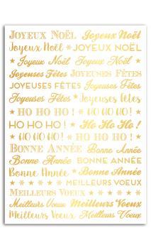 Rub-ons oro - palabras Navidad - 1 hoja 15x21