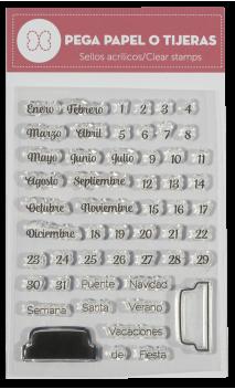 """Sellos silicona """" Mi Calendario""""  Pega Papel o Tijeras"""