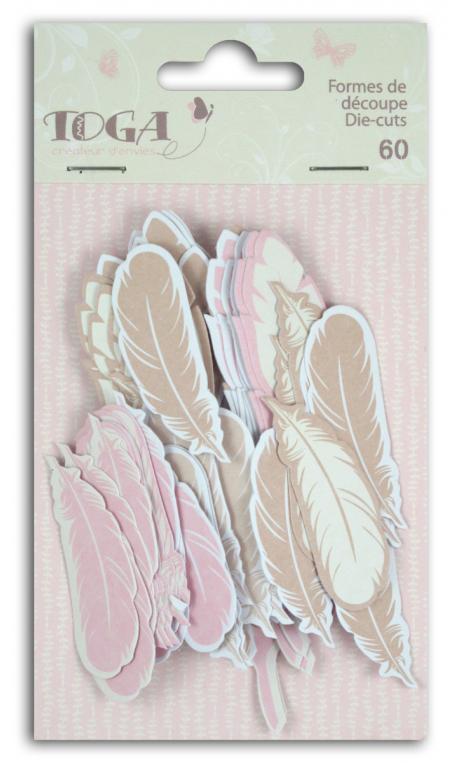 Surtido. 60 formas recortadas plumas Beige Rosa