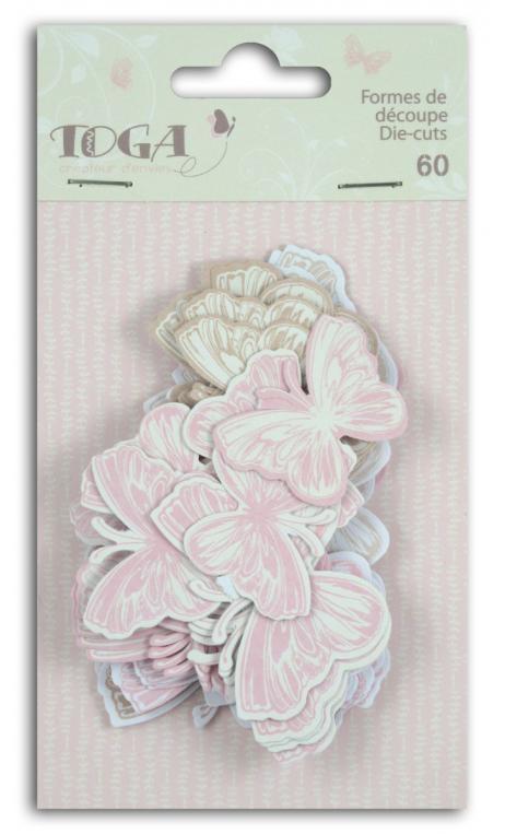 Surtido. 60 formas recortadas Mariposas Beige Rosa