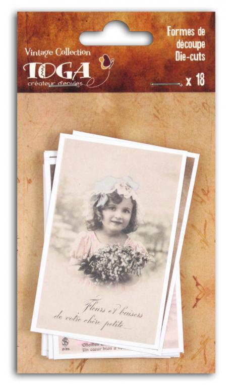 Surtido. 18 formas recortadas carte postale Vintage