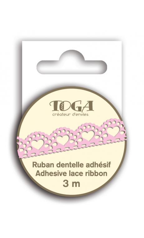 Cinta adhesiva encaje Corazón festoneado Rosa 3m