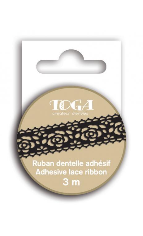 Cinta adhesiva encaje Flor Negro 3m