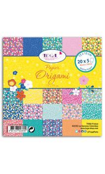 100 Papeles origami 15x15 flores japon
