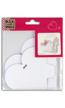 6 Cajas Corazón Blanco para montar