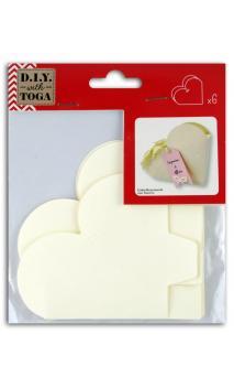 6 Cajas Corazón Marfil para montar