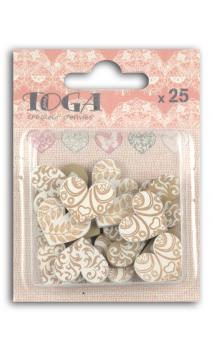 Surtido. 25 confettis madera Corazones Rosa & Gris