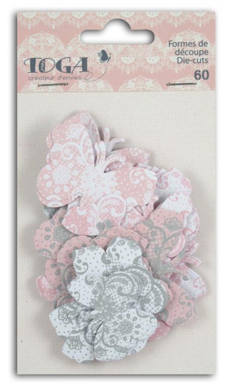 Surtido. 60 formas recortadas Mariposas Rosa Gris