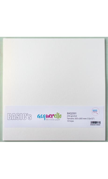 Acquerello Papel Básico Mix Media 250g 30,5x30,5cm 10 hojas