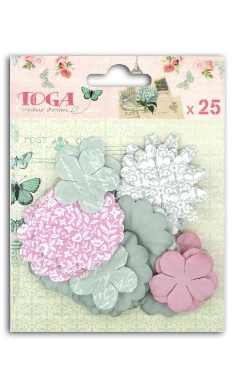Surtido 25 flores impresas Shabby love