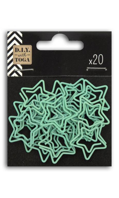 Conjunto etoiles menthe 20 clips de papel