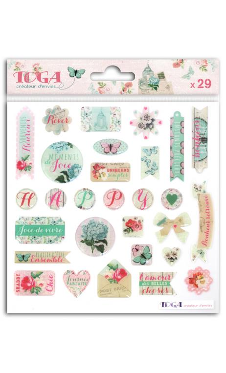 1 hoja de stickers epoxy Shabby love