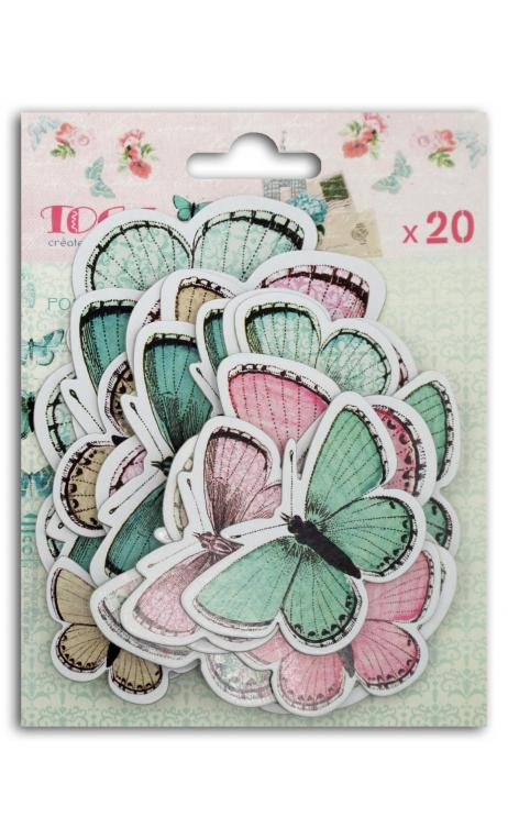 Surtido 20 chipboards mariposa Shabby