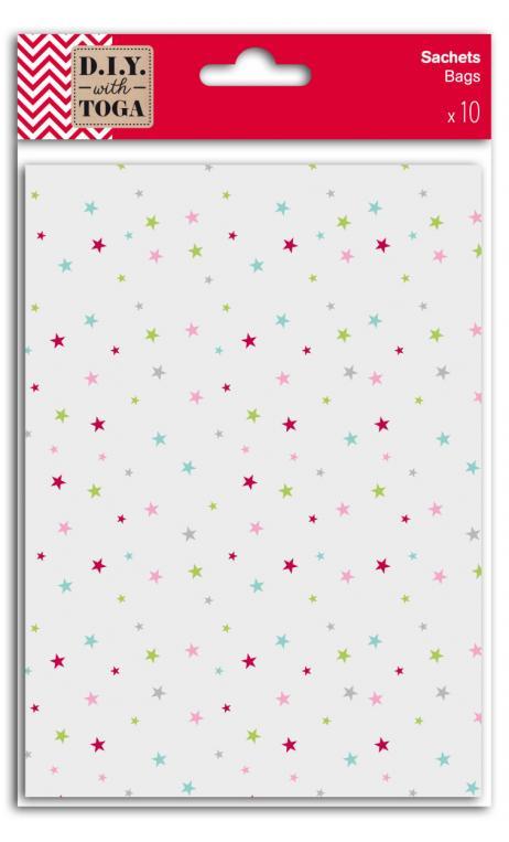 10 sobres transparentes  fuelle estrellas 5 colores