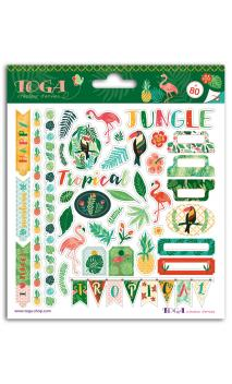 2 hojas de stickers 15 x 15 Jungla