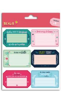 6 etiquetas adhesivas cuaderno con mensajes positivos