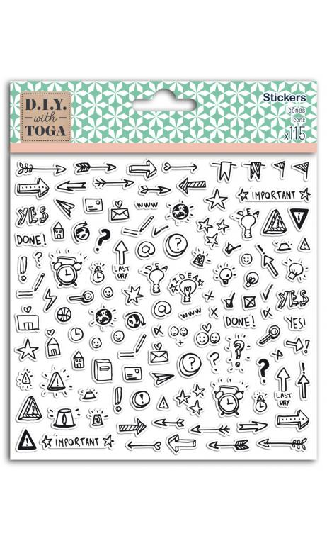 1 hoja stickers 15x15 icones bullet