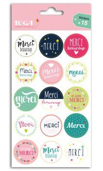 """1 hoja stickers para emballaje de ragalos  """"""""merci"""""""""""""""