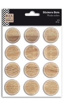 12 etiquetas adhesivas redondas madera