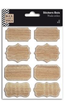 8 etiquetas adhesivas barroco. madera
