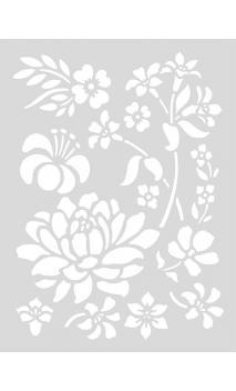 Stencil mediano, Flores 18,5/24,5 cm Autoadhesivo