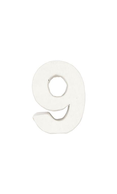 Número de papel Maché 9 pequeño    CA. 7/2,5 cm