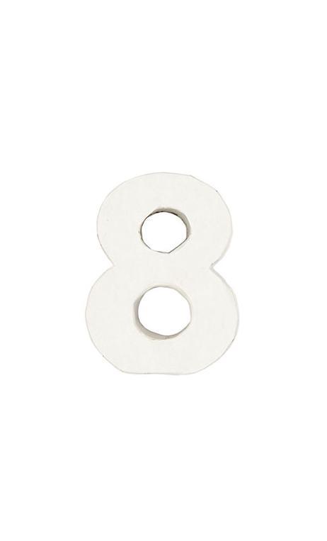 Número de papel Maché 8 pequeño    CA. 7/2,5 cm