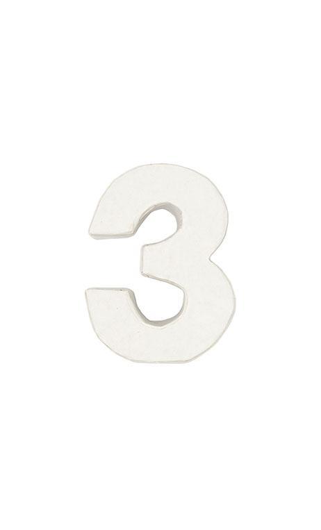 Número de papel Maché 3 pequeño    CA. 7/2,5 cm