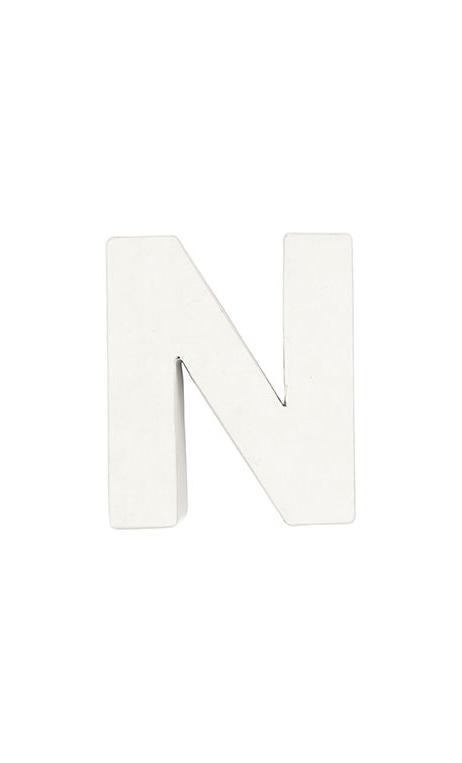 Letra de papel maché N pequeña    CA. 7/2,5 cm