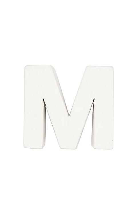 Letra de papel maché M pequeña    CA. 7/2,5 cm