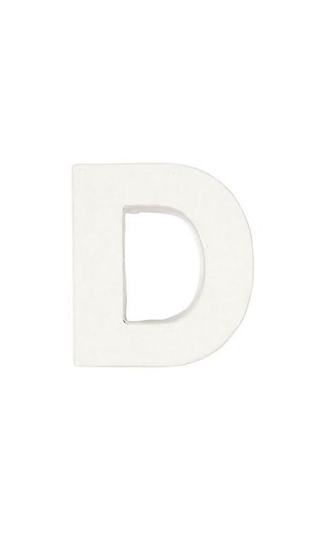 Letra de papel maché D pequeña    CA. 7/2,5 cm