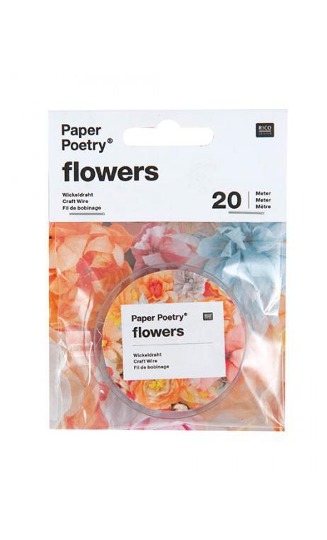 Papel cubierto alambre Floral, whi 10 pcs, 50 cm