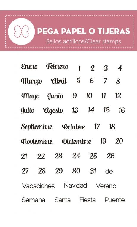 "Sellos silicona "" Mi Calendario light""  Pega Papel o Tijeras"