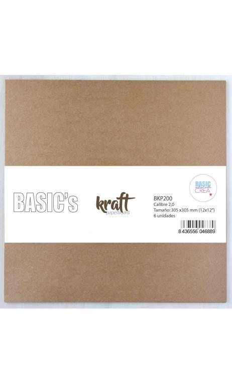 Cartón Kraft 2,0mm  30,5x30,5cm 6 hojas